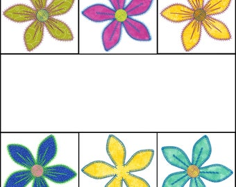 Set of Fun Flower applique designs  Instant download now available.