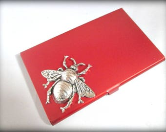 Slim red Stainless steel business card holder-credit card holder-bee card holder-gothic card holder-steampunk business card holder