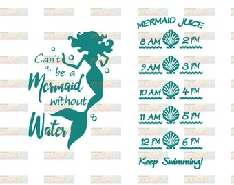 Mermaid Decal - Can't Be a Mermaid Without Water - Water Bottle Decal - Mermaid Vinyl Decal - Motivational Vinyl Decal - Water Tracker Decal