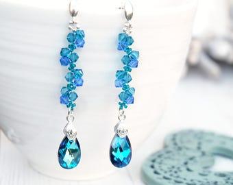 Long tael blue Swarovski teardrop crystal earrings Sterling Silver wedding bridesmaids earrings Long blue beaded earrings Bermuda Blue