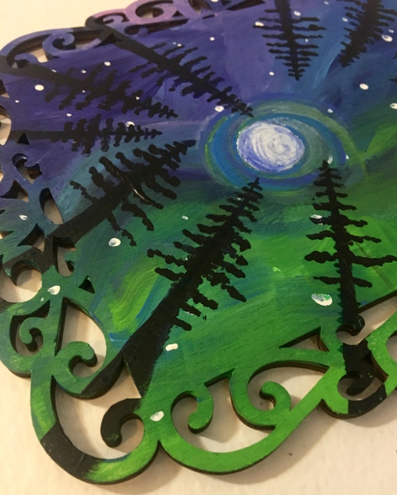 """Original Art """"Looking Up"""" Forest Painting Northern Lights Trees Stars Moon Acrylic Painting Wood Nature Home Decor Winter Holiday Gift"""