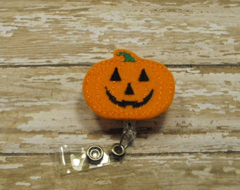 Pumpkin felt badge reel, name badge holder, nurse badge, ID holder, badge reel, retractable badge clip, feltie badge reel