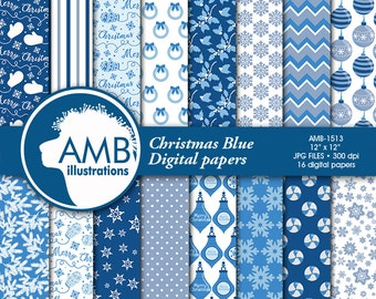 Blue Christmas digital paper, Holiday Backgrounds, Christmas blue papers, Scrapbooking, commercial use, instant download, AMB-1513