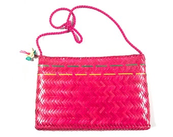 Vintage Wicker Bag. Pink Handbag. Straw Shoulder Bag. Hot Pink Purse. Fuschia Wicker Purse. Wicker Shoulder Bag. Shoulder Bag. Straw Bag