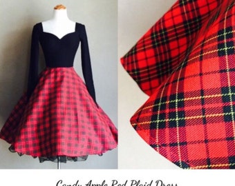 Trixie Tartan PLAID Swing Dress, Punk Rock Long Sleeves with Stretch Knit Upper Bodice by Hardley Dangerous, Modern Pin Up Rockabilly Dress