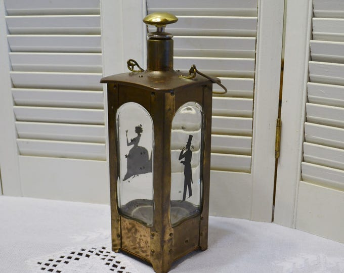 Vintage Decanter Lantern Shape Silhouettes Music Box not working Decorative Decanter Mid Century Bar PanchosPorch