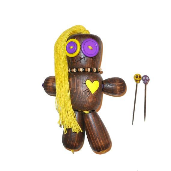 WooDoo Doll - Matilda Thornblade Yellow & Purple Wooden VooDoo Doll