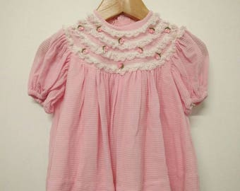 Vintage Baby Soft Pink Smock with Lace and Embroidery