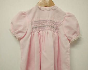 Vintage Baby Soft Pink Smock with Embroidery