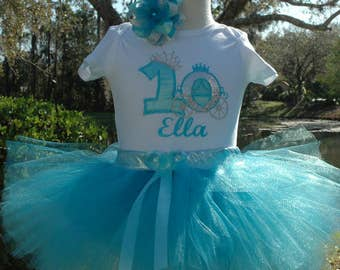 Princess carriage 1st birthday girl outfit,blue  tutu,one year old girl.Cinderella carriage princess birthday outfit.