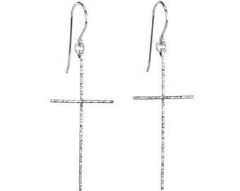 Cross Earrings, Silver Cross Earrings, Hammered Cross Earrings, Cross Earring, Hammered Cross, Silver Handmade Earrings, Argentium Earrings