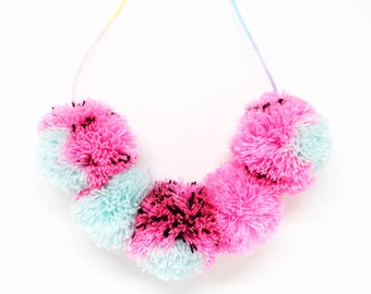 Watermelon pom pom necklace on pastel ombre cord