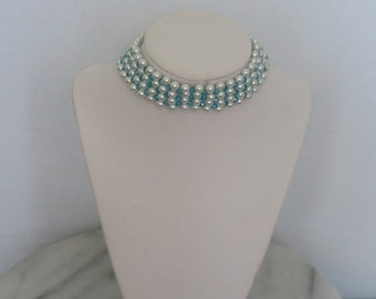 White Pearl and blue crystal choker