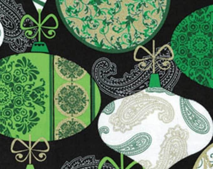 Half Yard Deck the Halls - Ornaments Green / White - Metallic Accents - Christmas Cotton Quilt Fabric - Benartex Fabrics - 6455M-40 (W3472)