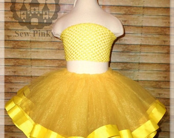 Princess Belle Tutu Skirt, Yellow Tutu, Yellow Trim Tutu, Fluffy Princess Tutu, Beauty and the Beast Tutu, Cake SMash TuTu, Belle Birthday