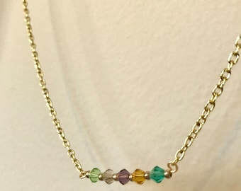 Custom Mother's Day 5 Color Birthstone Necklace
