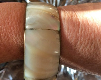 Vintage Bangle Bracelet Mother of Pearl and Brass Resort Beach Shabby Peasant Bohemian