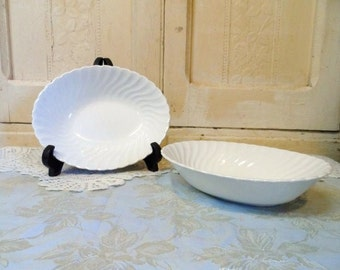 Johnson Bros Ironstone SNOWHITE REGENCY Serving Bowls-Simple Country White-Ivory Swirl-Vintage England- Buffet-Orphaned Treasure-111516M