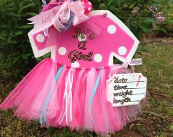Birth Announcement, Baby Girl Hospital Door Hanger-Wood Tutu Door Hanger-Girl Hospital Door Hanger-Baby Stats Sign-Nursery Decor