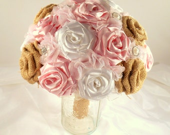 Burlap Wedding Bouquet, Pink Bridal Bouquet, Pink Fabric Bouquet, Keepsake Bouquet, Pink Bouquet, Alternative Bouquet, Alternative Wedding