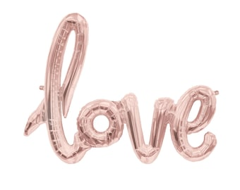 "LOVE Rose Gold Script Ballon Banner 40"" Wedding Bridal Engagement Anniversary, Decorations, Party, Photo Prop, Party Ideas, Supplies"