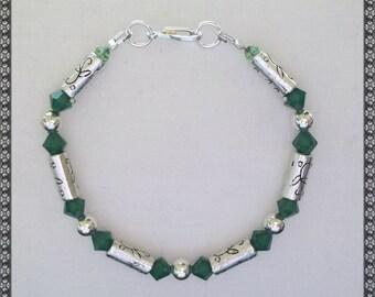 green bracelet, Swarovski bracelet, crystal bracelet, dark green, silver bracelet