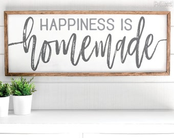 Happiness is Homemade | FREE SHIPPING |  Farmhouse Wood Sign | Shabby Chic Decor | 47x18
