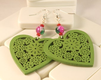 Green Pink Wooden Heart Charm Earrings, Green Wood, Pink Crackle Glass Earrings, Heart Earrings, Green Pink Earrings, Chunky Dangle Earrings
