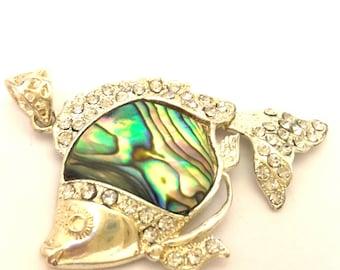Women Pendant Green Rainbow Abalone Shell Vintage Fabulous Fish White Rhinestones Brass Silver Plated