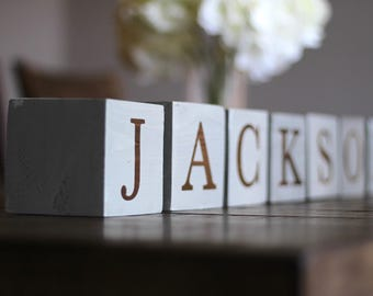 "3.5"" personalized baby name blocks, nursery decor, baby wood decor"