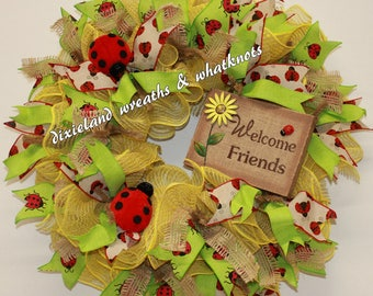 Welcome Wreath, Welcome Friends Wreath, Spring Wreath, Summer Wreath, Ladybugs Wreath, Yellow Welcome Wreath, Ladybugs, Front Door Wreath