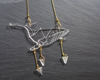 Necklace geometric whale, whales collection. Serious cut Plexiglas laser, dangling tassels.