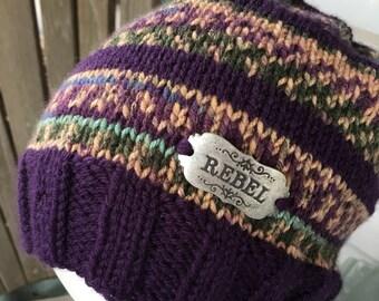 Rebel - Message Hat - Hand knit - Plum, green tan print
