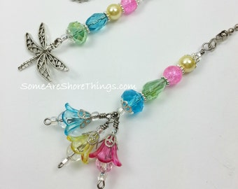 Ceiling Fan and Light Pull Chain Set with Flowers and Dragonfly Theme.  Colorful Girl's Bedroom or Baby Nursery Decor.