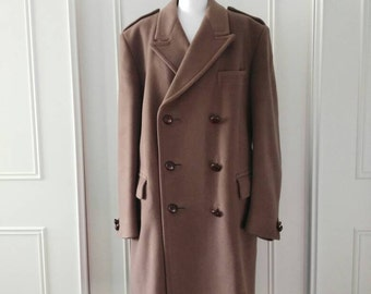 Gieves and Hawkes Saville Row Wool overcoat 1960's vintage overcoat Gieves brown double breasted overcoat men's overcoat size 44R