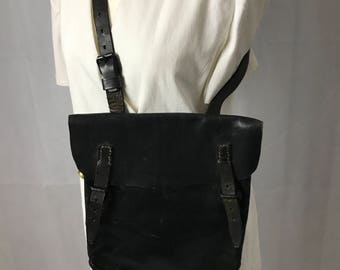 Early Black Leather Satchel