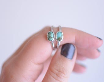 Tiny Turquoise Ring // Carico Lake Turquoise // Sterling Silver // Stacking Ring // Made to Order