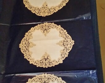 Trio of bobbin lace doilies