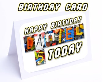 Lego Birthday Card --- Personalised for ANY name and age (2 gifts in 1)