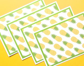 Pineapple Note Cards - Pineapple Stationery - Tropical Note Cards - Blank Note Cards - Hawaii Note Cards - Cute Stationery - Set of 4