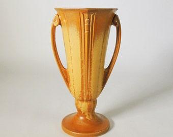 "Roseville ""Russco"" Vase Vintage 1930's Art Deco Vase 8"" Tall"
