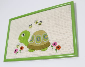 Cute Vintage Kitsch Turtle Crewel Picture, Framed 1970s Green Frame with Flowers