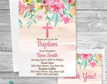 Floral Baptism Invitation, Flower Baptism Invitation, Baptism Invitation, Christening, Dedication, First Communion, Girl Baptism
