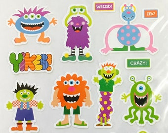 Silly Monster Stickers - Party Supplies - Halloween - Scrapbooking - DIY Projects - Kid's Crafts