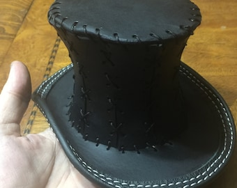 Genuine leather mini hand shaped  top hat cosplay tophat steampunk