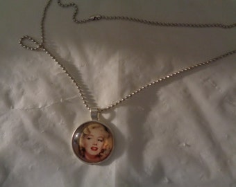 Marilyn Monroe In Color Pendant Photo Charm Chain Necklace