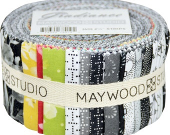 Gradiance 2.5 Inch strips, Black & White Fabric, Jelly Roll  - Maywood Studios - MASGRA (40) strips, 2.5 Inch