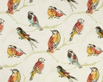 Shower Curtain in Birds Print fabric Aves Perch Jubiliee with Grommets Available in many Sizes