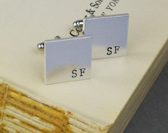 Custom Initial Cuff Links - Hand Stamped Groomsman Gift