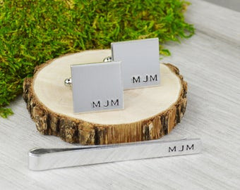 Custom Initials Tie Bar and Cuff Link Set - Hand Stamped Groomsman Gift - Boyfriend or Husband Gift